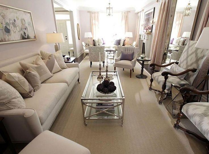 Sarah Richardson Design Elegant Long Narrow Ivory Purple Living Room With Sofa White Gray