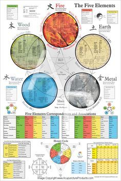 The Five Elements of Acupuncture. Repinned http://www.medischeqigong.com/ http://www.academ.nl/ #qigong