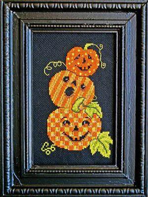 Triple Jack O Lanterns - Cross Stitch Pattern  by Bobbie G Designs