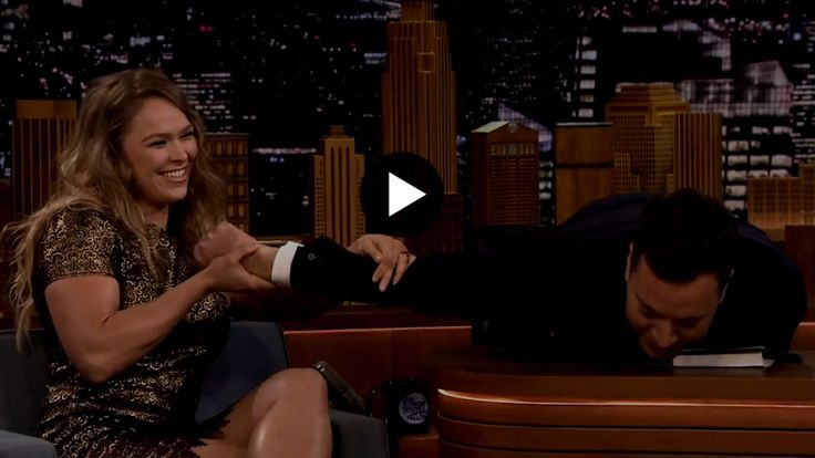Ronda Rousey on The Tonight Show with Jimmy Fallon and the Ultimate Fighting Championship (UFC) women's bantamweight titleholder was asked to perform an armbar on the comedian while promoting her new book.