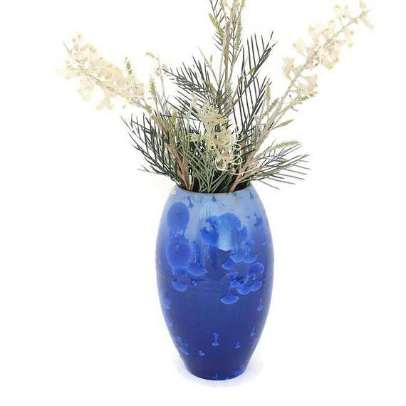Blue Ceramic Crystal Glazed Vase  Pottery vase  Flower