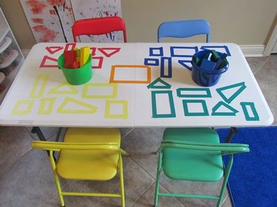 Block Center Table Game: ok so I am super excited about this activity. Use color tape to create block shapes to create a color and shape matching game♥