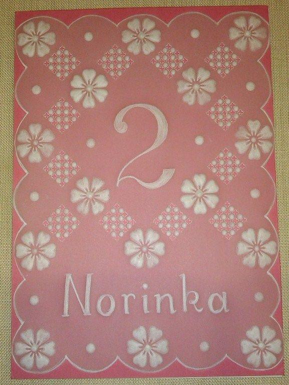 Přáníčko pro Norinku - parchment craft
