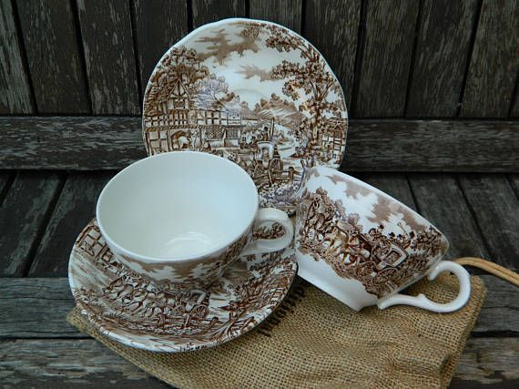 Franciscan Staffordshire Coaching Days Brown Tea Cup and