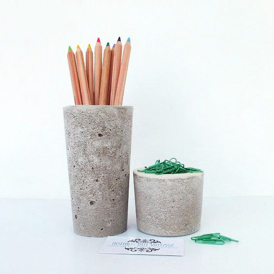 Urban Decor concrete pencil & paper clip holders available at www.nothingbutvintage.com.au