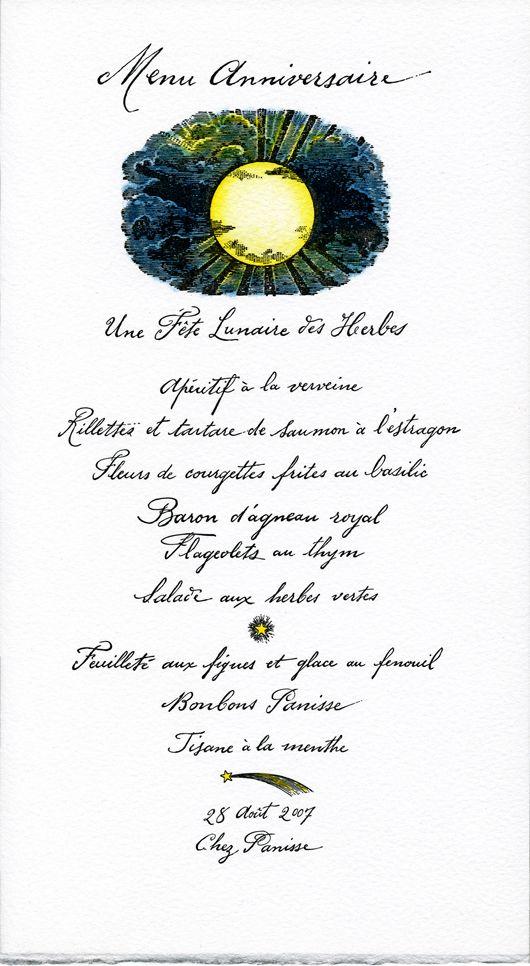 Cynthia Warren Design hand lettered menu for Chez Panisse