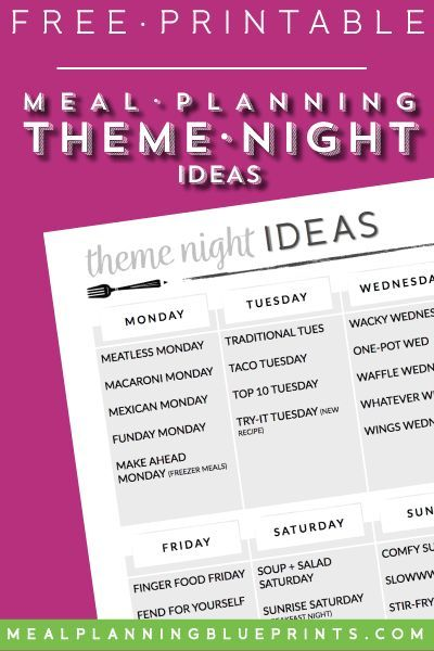 Theme Night Ideas| Free Printable | Meal Planning | Pantry | Freezer | Fridge | Organization | Dinner