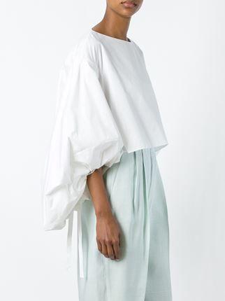 Delpozo укороченная блузка с пышными рукавами