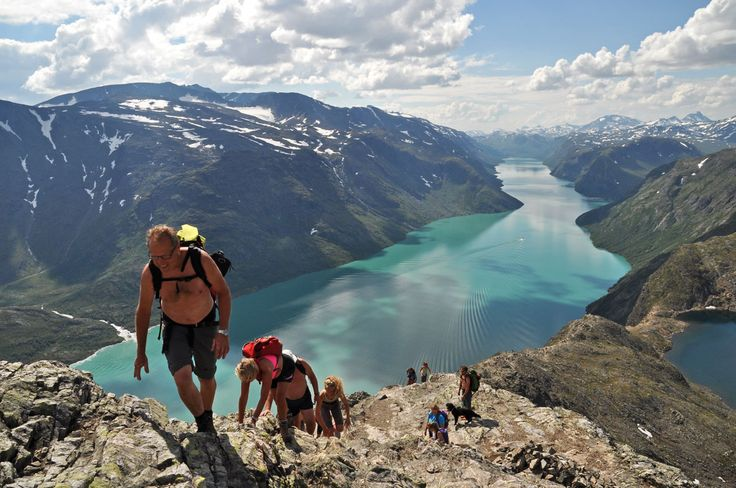 The summer of 2014 was warm in Norway; a few clothes on the top of Besseggen.