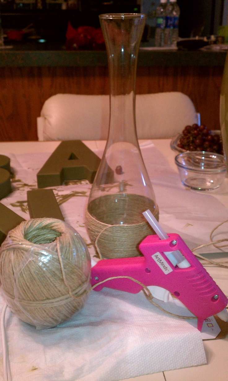Wrap old vases with twine...it takes a while but well worth it!!!