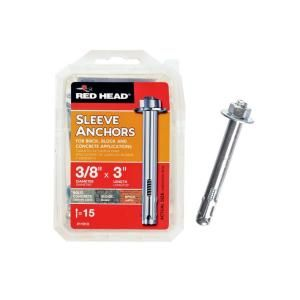 Red Head 3/8 in. x 3 in. Hex-Head Sleeve Anchors (15-Pack)-11013 at The Home Depot for hanging wall shelves in plaster walls