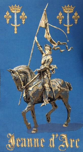 """Woven in Belgium History: Jeanne d'Arc, or Joan of Arc, is a Belgian jacquard wall tapestry. Nicknamed """"The Maid of Orl?ans,"""" Joan of Arc is considered a heroin"""