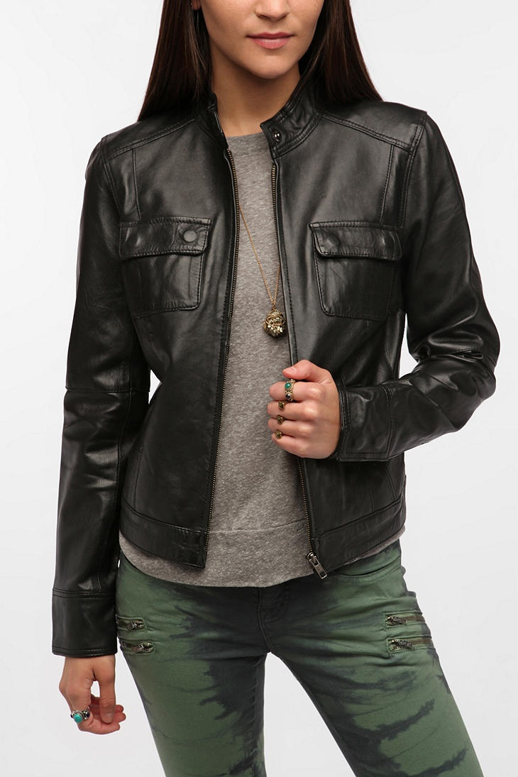Members Only Leather Snap-Neck Jacket  #UrbanOutfitters ahhh beautiful