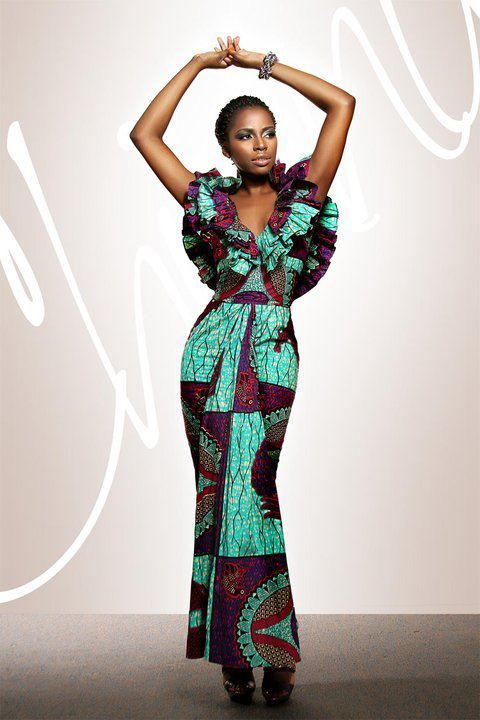 Its African inspired - torquoise & brown maxi...beautiful