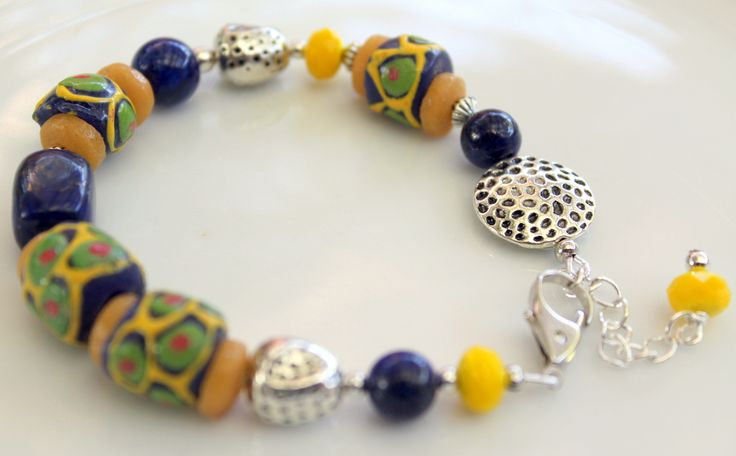 African Trade Bead Bracelet B102