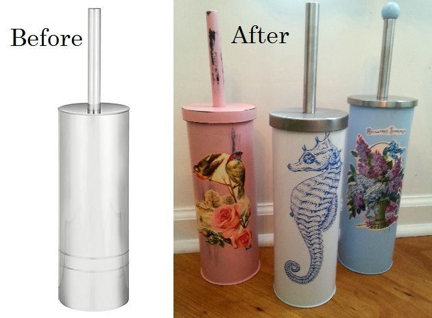Give Your Boring Toilet Brush Holder A Cottage Style Makeover