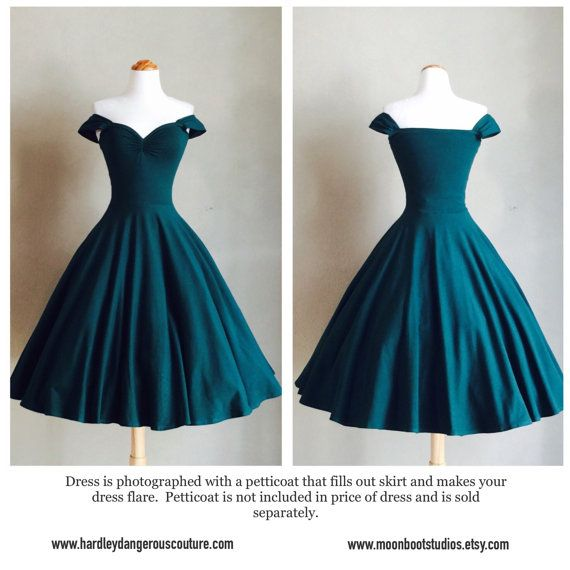 Forest Green ROCKABILLY Swing Dress by Hardley by MoonbootStudios