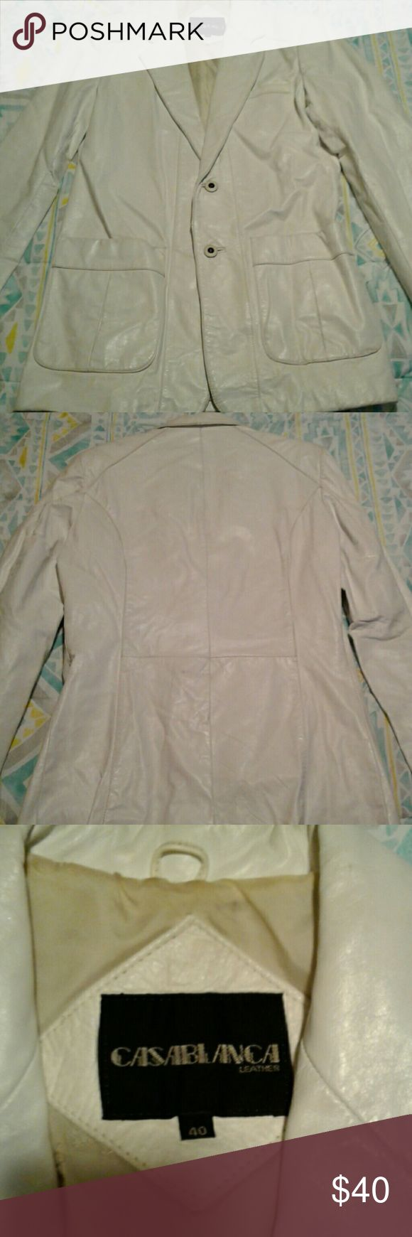 AUTHENTIC Mens White Leather Jacket 100% AUTHENTIC Cream men's leather Jacket with Tan lining Casablanca  Jackets & Coats