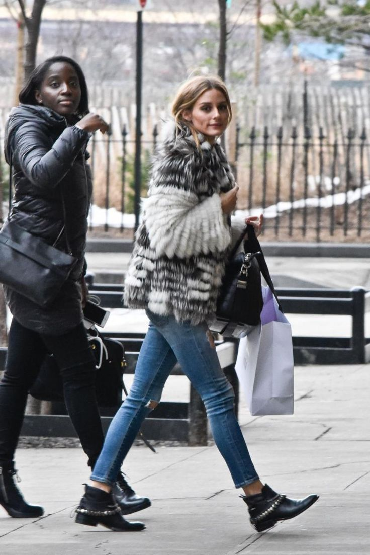 Olivia Palermo wearing AG Jeans the Legging Ankle Jeans in 18 Year Destroy, Freda Salvador Comet Chained Leather Ankle Boots and Givenchy Antigona Bag