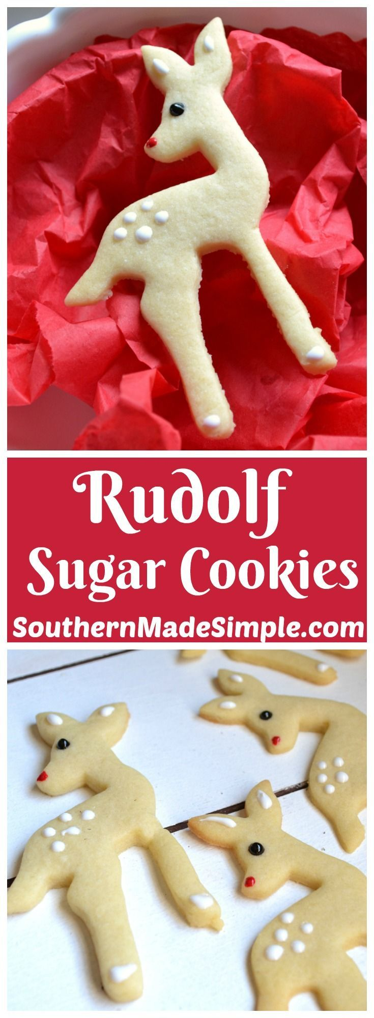 These sweet little Rudolf sugar cookies are a fantastic holiday treat, and they're SO easy to make!