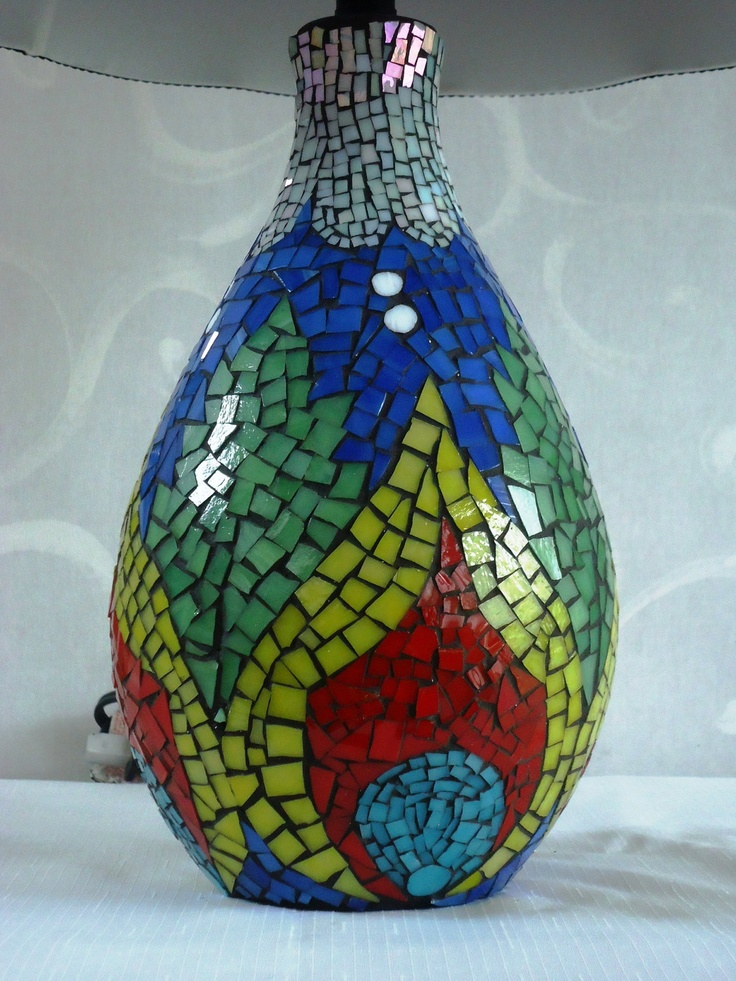 Bright and Colorful Stained Glass Mosaic Lamp by FORTIERgallery