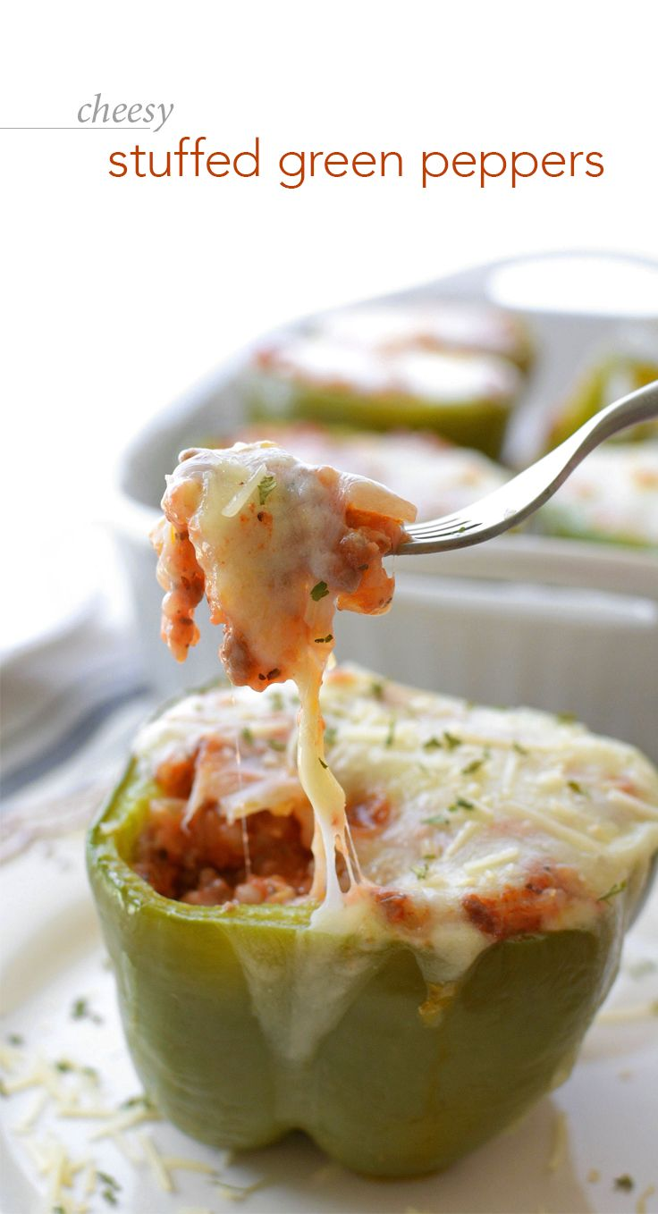 Cheesy Stuffed Green Peppers - Don't think home-cooked meals and busy schedules can go hand-in-hand? This healthy, freezer-friendly, and easy-to-make meal will make you think again!