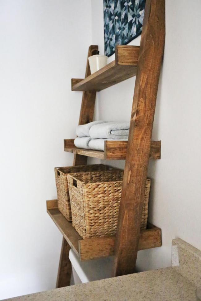 Original Ana White  Leaning Bathroom Ladder Shelf  DIY Projects