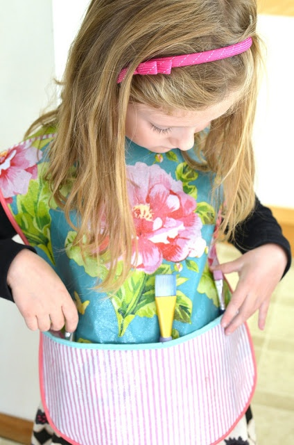 Kids' Art Smock made with reusable shopping bags