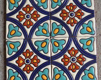 """6 piezas Azulejos 6x6"""" o 4x4"""" hecho a mano."""