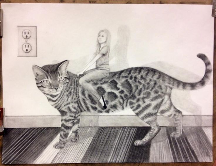 study in Surrealism 2014 24x18 charcoal  'Mazzy's steed' t. johnsen