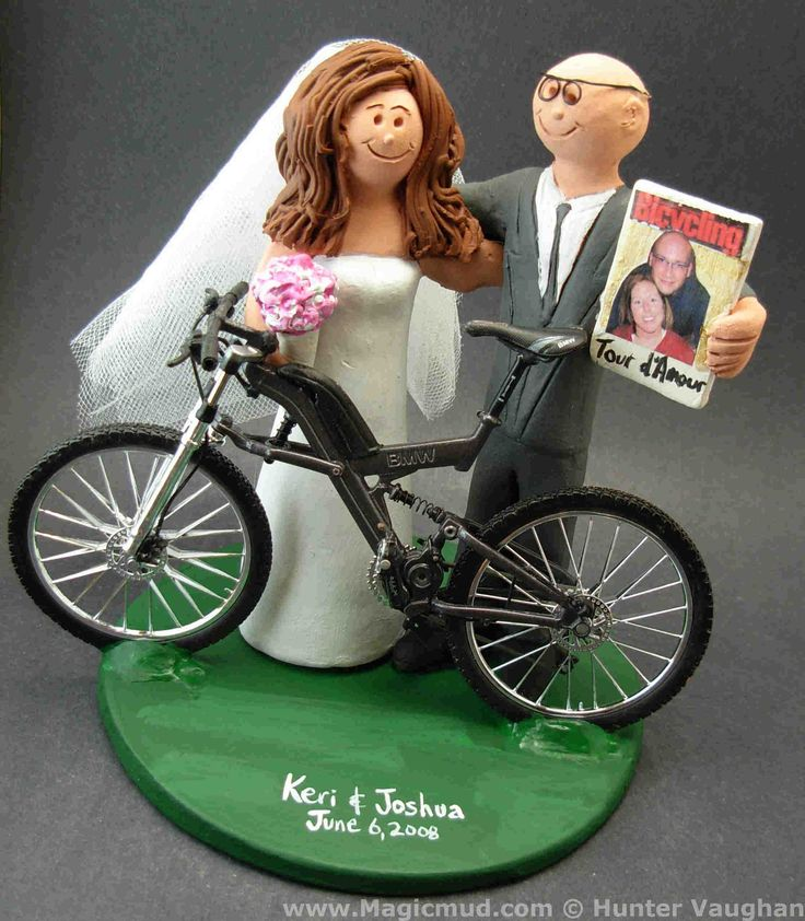 Bicycle Wedding Cake Topper by http://www.magicmud.com   1 800 231 9814  magicmud@magicmud.com  http://blog.magicmud.com  https://twitter.com/caketoppers         https://www.facebook.com/PersonalizedWeddingCakeToppers  #bicycle#bike#cyclist#mountain_bike#wedding #cake #toppers  #custom #personalized #Groom #bride #anniversary #birthday#weddingcaketoppers#cake toppers#figurine#gift#wedding cake toppers
