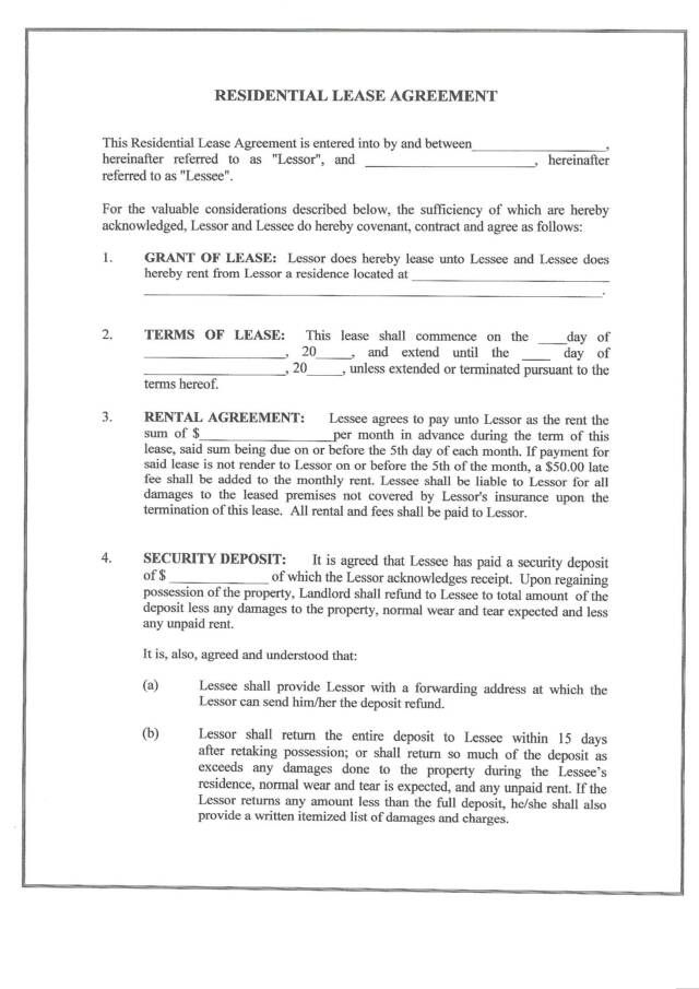 free residential lease agreement form