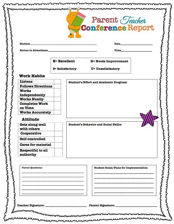 Parent Conference Request Form Elementary | Parent Teacher Conference Forms {Free Printables} | Living Laughing ...
