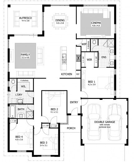 Sinatra floor plan features a central galley style for Galley kitchen floor plans
