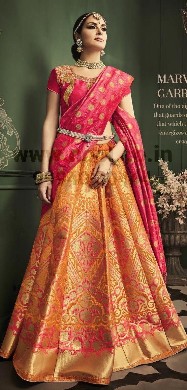 http://www.nool.co.in/product/salwar-suits/langa-voni-orange-zari-weaved-tussar-silk-ghagra-unstitched-bz6052d88270