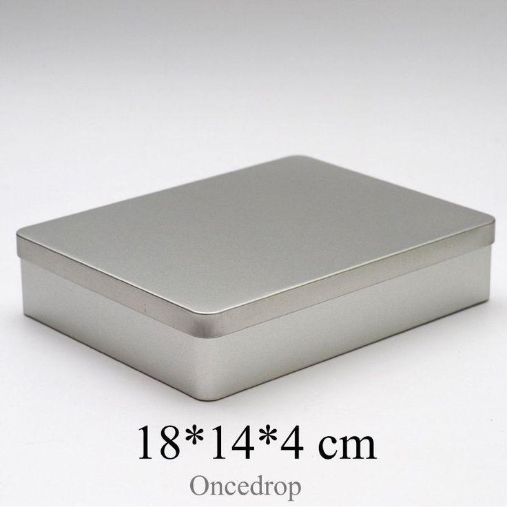 18cm Metal tin storage box DIY blank case , photo/files/cable/pen Desktop finishing boxes - Qty 1
