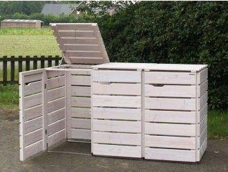 3er Mülltonnenbox Holz 240 Liter
