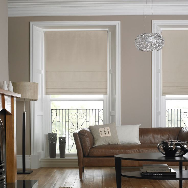 Living Room Beige Blinds With Grey Walls And White Trim