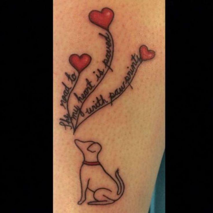 Dog Paw Print Heart Tattoos