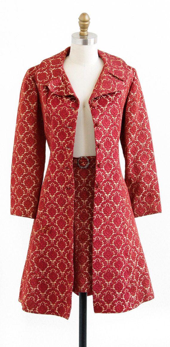 vintage 1960s coat / 60s mini skirt / Ultra Mod Jacquard