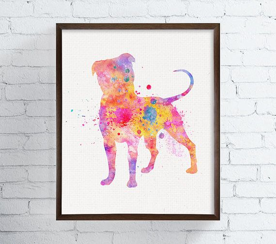 High quality print of my original watercolor artwork Colorful Pit Bull 2.  Professionally printed on heavy weight (230 g. 9-5 mil), acid-free,