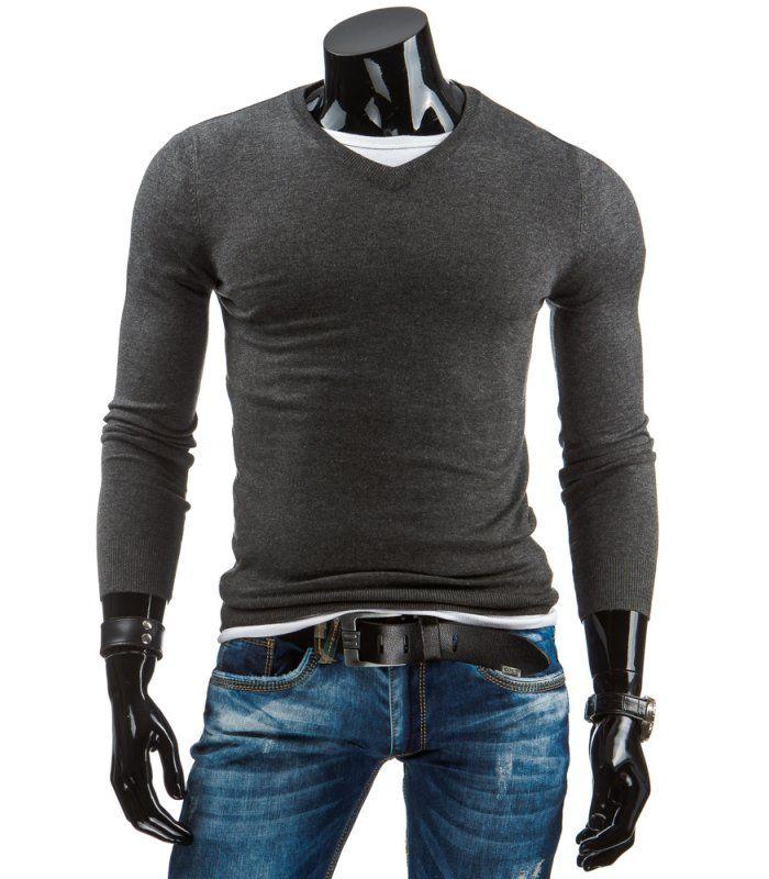 Antracitový pánsky sveter, ktorý sa oblieka cez hlavu. Výstrih typu V-neck Vyrobené z mäkkej na dotyk príjemnej tkaniny. Výstrih, dolná časť a rukávy sú zakončené manžetou. Módny dizajn a jedinečný vzhľad. Výborne sa prispôsobí každej postave.