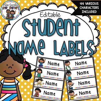 Name Labels - EditableThese student name labels come in 44 various designs (22 girls and 22 boys). They are also editable which means all you have to do is choose your font, type in your students name, print and laminate/contact if you wish. Suitable for labelling student desks, locker tubs, playdough and tracing mats etc.**File is in Powerpoint and is editable**I have included some spare name label tags for you to customise and create your own designs if needed.Also Available in this…