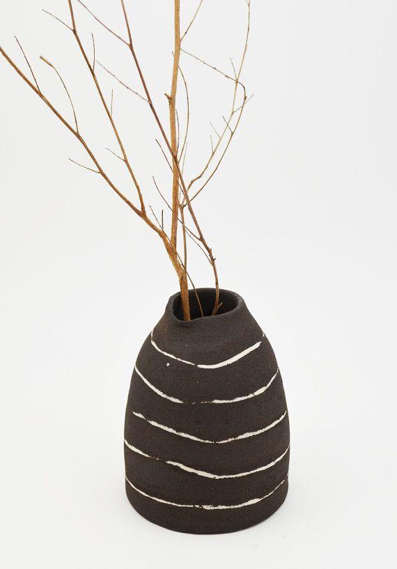 Small Ceramic Vase  Bud Vase  Black and White by susansimonini #etsy #ceramic