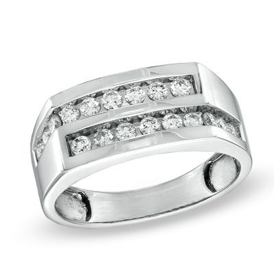 Men's 3/4 CT. T.W. Diamond Double Row Ring in 14K White Gold