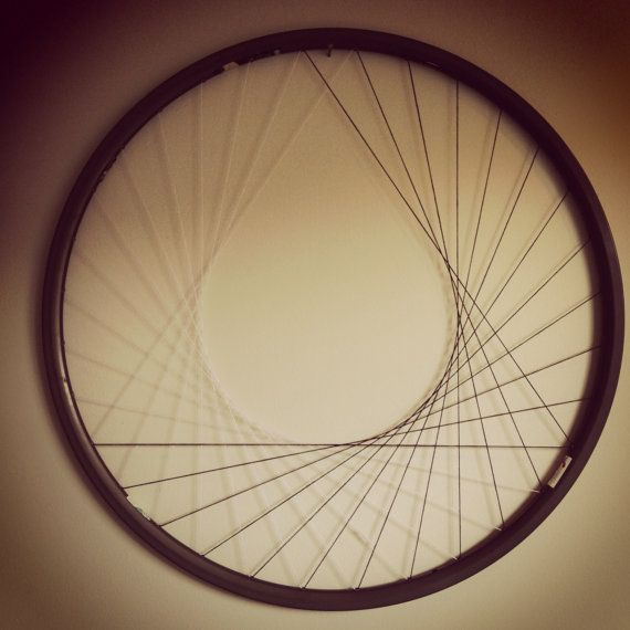 Recycled Bicycle Wheel Wall Art  Laced  Monochrome  by hardlyrobot, $68.00