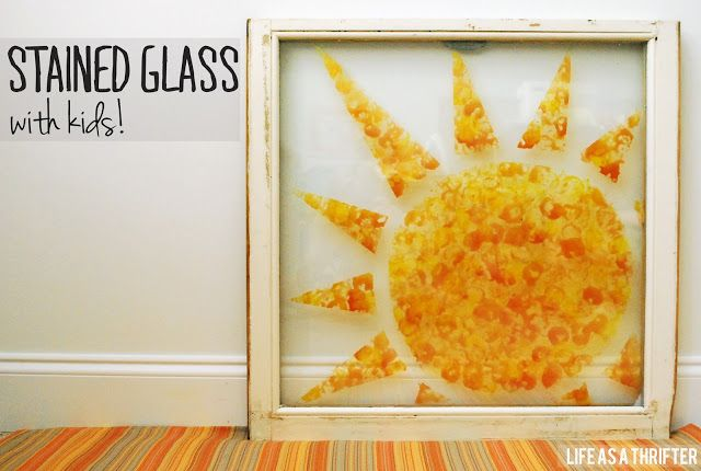 DIYStained Glass with Kids Glass paint and Marshmallows!!