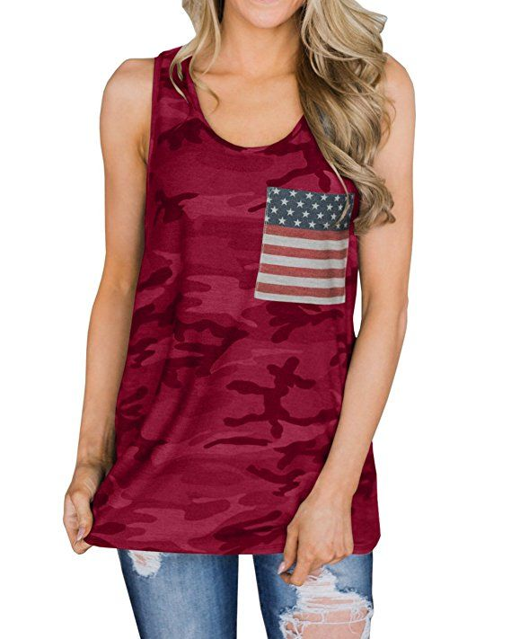 eec36c3af63706 4th of july - Ofenbuy Womens Camouflage Tank Tops American Flag Casual  Sleeveless Racerback Camisole Shirts
