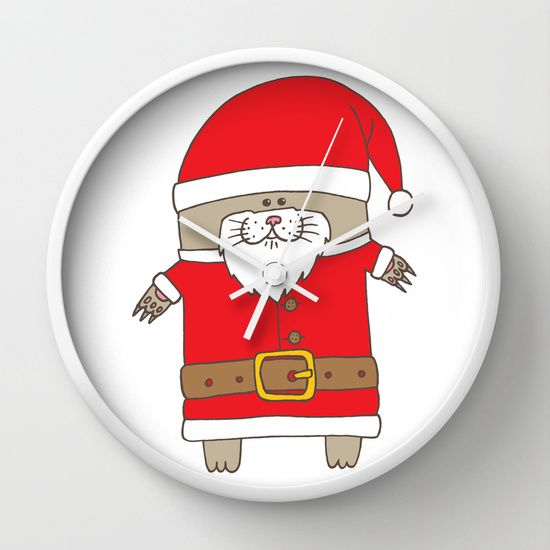 SANTA CLAWS is coming to town Wall Clock