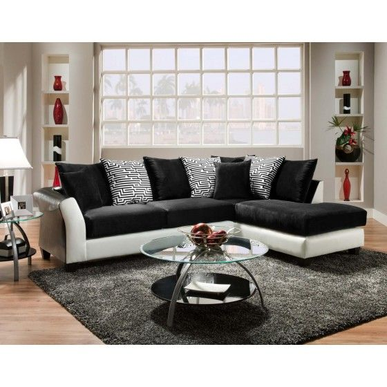 Avanti White Sectional With A Modern Design And Eye Catching Scattered  Pillows Back Cushion, Two Piece Sectional Chaise Set Is Stylish In At Angle.